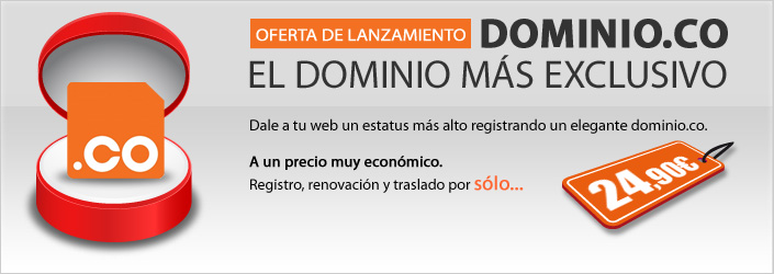 Oferta de lanzamiento: Dominio.co, el dominio m�s exclusivo